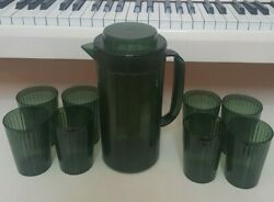 Acrylic Avocado Green Pitcher And 8 Matching Tumblers