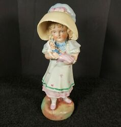 Vintage Chalkware Plaster Figurine Girl With Baby Doll 7.25