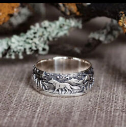 925 Sterling Silver Carved Landscape Loyal Wolf Ring [rng-32]