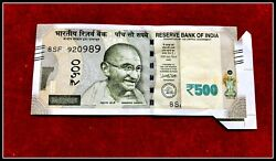 Rs 500/- India Banknote Latest Issue Extra Paper / Flap Butterfly Error