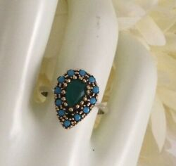 Vintage Jewellery Sterling Silver Gold Ring Emerald Turquoise Antique Jewelry