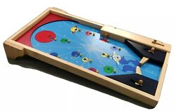 Kid's Wooden Pinball Tabletop Game Space Planets Theme 23.75x12 W/balls