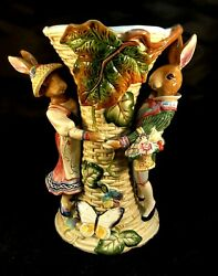 Fitz And Floyd Classics Old World Rabbits Large Centerpiece Vase Retired And Htf