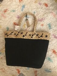 Caslon Embroidered Straw amp; Canvas Beach Bag Purse Tote New With Tags $24.99