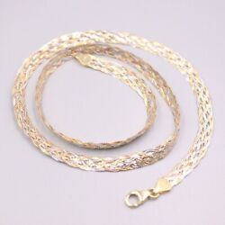 Real 18k Multi-tone Gold Chain For Women 5.0mm 6pcs Weave Female's Necklace