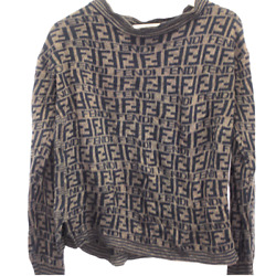 G170 Vintage Fendi Zucca Monogram Wool Knit Sweater Made In Italy Brown