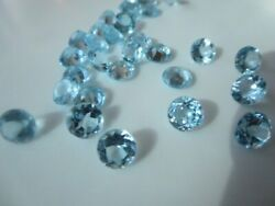 Cute Natural Sky Blue Topaz 3mm To 15mm Round Faceted Cut Loose Gemstone