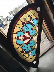 Sg3592 1 Available 1 Sold Price Each Antique Arch Top Stained Glass 29 X 59.5