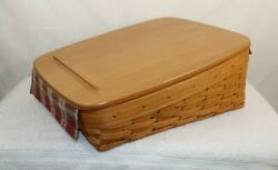 Longaberger Tapered Paper Tray Medium Bin Basket And Wood Lid And Protector