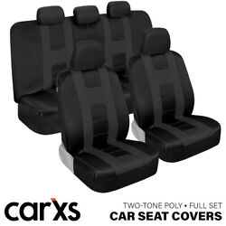 Car Seat Covers Front And Rear Bench Full Set For Auto Truck Suv Charcoal Gray