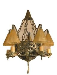 Art Deco Slip Shade Chandelier Mission Style Complete