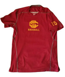 Usc Trojans Nike Baseball Team Issued Shirt 15 Pro Combat Fitted