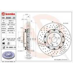 Brembo 2x Brake Discs Interior Vented Slitted/perforated Coated 09.8880.23