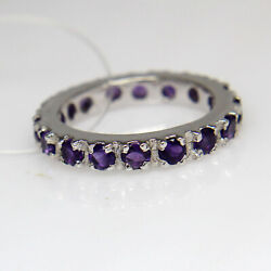 Natural Amethyst Sterling Sliver Eternity Band Charm Band For Women