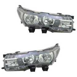 Headlight Set Left And Right Hb3/h11/led With Daytime Running For Toyota Corolla