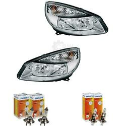 Headlight Set For Renault Scenic Ii Type Jm Phase I Year 03-06 Hella H7 +h1