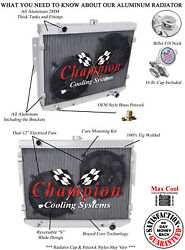 4 Row Super Champion Radiator W/ 2 12 Fans For 1974 Dodge Charger V8 Engine