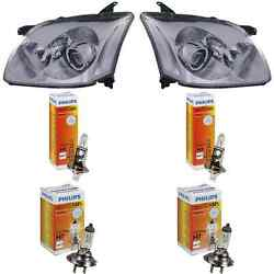Headlight Set For Toyota Avensis Ii Year 01/03-06/06 Incl. Motor H7+h1