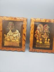 2 Vintage 80s Chicken Miss Priss Wall Picture Jo Sonja Wood Art Decor Lacquered