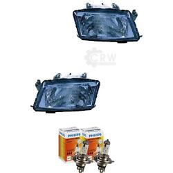 Headlight Set Right And Left Saab 9-3 98-03 Lwr Incl. Philips Lamps Lia