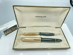 Vintage 644-g Masterpiece Green Stirated Fountain Pen Pencil Set Boxed