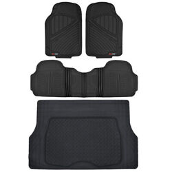 Motor Trend 4-piece Combo Rubber Car Floor Mats And Cargo Trunk Liner All Weather