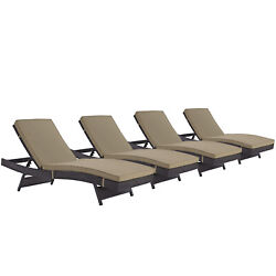Modway Convene Wicker Rattan Outdoor Patio Chaise Lounge Chairs In Espresso M...