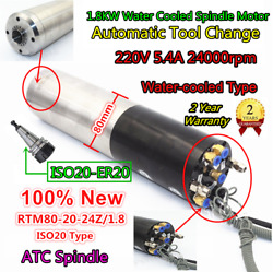 1.8kw 220v Atc Water Spindle Motor Automatic Tool Change Iso20 Er20 80mm 400hz