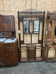 Antique Oak Hall Tree With Beveled Mirrors