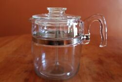 Vintage Pyrex Flameware 7759 9 Cup Glass Percolator And Lid With Basket And Insert