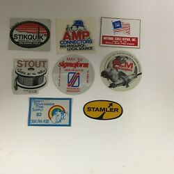 Vintage Assorted Coal Mining Hard Hat Collector Stickers Set Of8