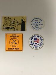 Vintage Assorted Umwa Coal Mining Hard Hat Collector Stickers Set Of4