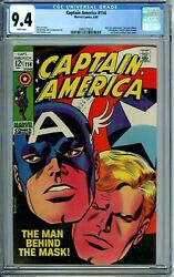 Captain America 114 Cgc 9.4 Wp Nick Fury Black Panther Avengers New Case 1969