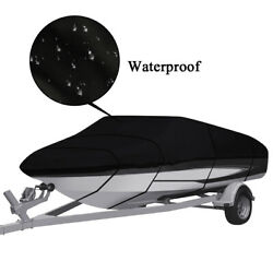 Trailerable Boat Cover Heavy Duty Waterproof Fit V-hull Tri-hull Boat Runabout