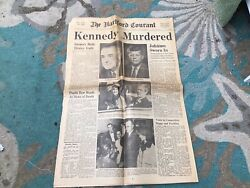 """The Hartford Courant """"kennedy Murdered"""" Newspaper From Nov. 23rd, 1963."""