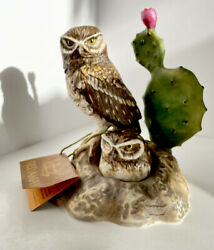 Forever Nature Fred Aman Owls And Prickley Pear Cactus Flower Vtg Enesco W / Tag