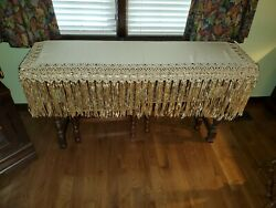 Antique Handmade Buffet, Piano Or Mantel Scarf, Fabric Is 54 X 13 Inches