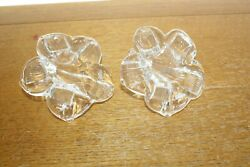 Two's Company Handblown Glass Pair Of Open Flowers Decorations Approx 5w X 5l