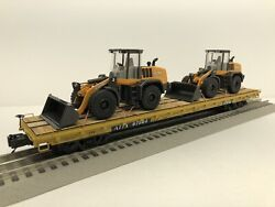 Mth Premier 60and039 Flat With 2 Custom Case 621g Wheel Loaders Ttx Trailer Train