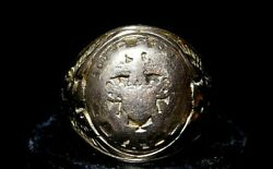 Wwi Solid 10k Gold Military Ring Size 10 1/2 Heavy Wear And Cut Scrap 7.2 Grams