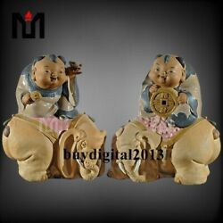 28cm Chinese Pottery Wucai Porcelain Lucky Boy Figurine Sit Elephant Statue Pair