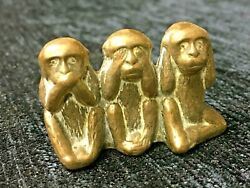 Collectable Vintage Brass Three 3 Wise Monkeys Paperweight