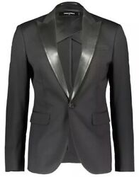 Andpound1435 Dsquared2 Black Wooland Leather Contrast Lapels Blazer Jacket Made In Italy