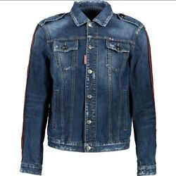 Andpound985 Dsquared2 Blue Distressed Contrasting Sleeves Denim Jacket - Made In Italy