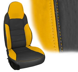 2005-2011 Corvette Z06 Inspired Leather Sport Seat Cover Ebony And Velocity Yellow