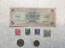 Rare 100 Lire 1943 Italy Usa Military Banknote Coin 50c 5c 1939 Stamp 1939 Lot