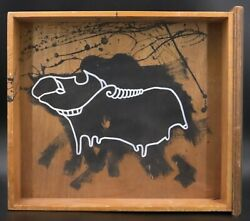 Klone Signed Acrylic And White Ink On Old Wood Drawer Painting And039ariesand039 Zodiac Sign