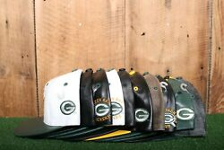 Lot Of 10 Vintage 90's Green Bay Packers Leather Snap Strap Back Baseball Hats