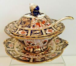 Extremely Rare Royal Crown Derby 2451 0r Traditional Imari Sauce Tureen And Ladle