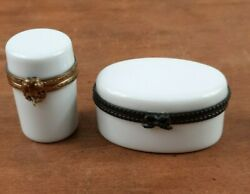 Limoges France Blank White Hinged Trinket Boxes Oval And Cylinder Lot Of 2